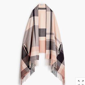 Plaid scarf cape